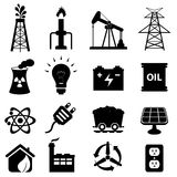 Insieme dell'icona di energia Fotografie Stock Libere da Diritti