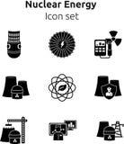 Insieme dell'icona di energia nucleare Fotografie Stock Libere da Diritti