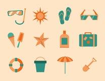 Insieme dell'icona di estate Fotografie Stock