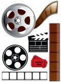 Insieme dell'icona di film e della pellicola illustrazione di stock