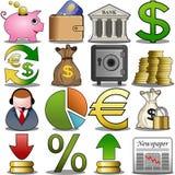 Insieme dell'icona di finanza Fotografie Stock Libere da Diritti