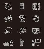 Insieme dell'icona di football americano Immagine Stock Libera da Diritti
