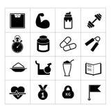 Insieme dell'icona di forma fisica Immagine Stock Libera da Diritti
