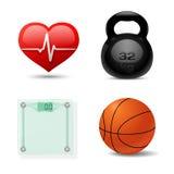 Insieme dell'icona di forma fisica e di sport. Vettore Immagine Stock Libera da Diritti