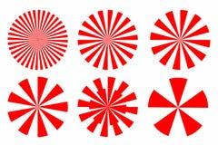 Insieme dell'icona di forma geometrica circolare dell'estratto rosso dello sprazzo di sole con immagine stock