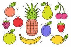 Insieme dell'icona di frutti Immagini Stock Libere da Diritti