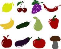Insieme dell'icona di frutti delle verdure Fotografie Stock Libere da Diritti