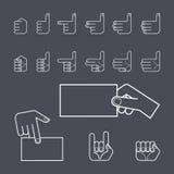 Insieme dell'icona di gesto di mano Immagine Stock Libera da Diritti