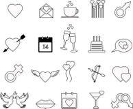 Insieme dell'icona di giorno di biglietti di S. Valentino fotografia stock libera da diritti