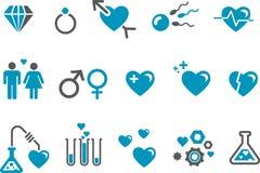 Insieme dell'icona di giorno del biglietto di S. Valentino Immagine Stock Libera da Diritti