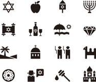 Insieme dell'icona di giudaismo e di Israele Fotografia Stock