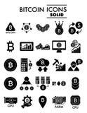 Insieme dell'icona di glifo di Bitcoin, simboli raccolta, schizzi di vettore, illustrazioni di logo, segni cripto di cryptocurren Immagini Stock