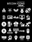 Insieme dell'icona di glifo di Bitcoin, simboli raccolta, schizzi di vettore, illustrazioni di logo, segni cripto di cryptocurren Immagine Stock