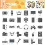 Insieme dell'icona di glifo degli apparecchi elettronici, simboli di media Fotografie Stock