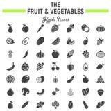 Insieme dell'icona di glifo delle verdure e della frutta, simboli dell'alimento illustrazione vettoriale