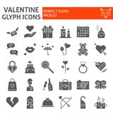 Insieme dell'icona di glifo di giorno di biglietti di S. Valentino, simboli romanzeschi raccolta, schizzi di vettore, illustrazio illustrazione di stock