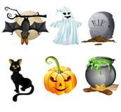 Insieme dell'icona di Halloween Fotografie Stock