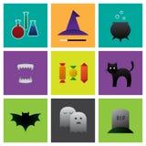 Insieme dell'icona di Halloween Fotografie Stock Libere da Diritti