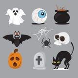 Insieme dell'icona di Halloween Illustrazione di vettore Fotografie Stock