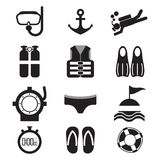 Insieme dell'icona di immersione subacquea Fotografia Stock Libera da Diritti