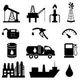 Insieme dell'icona di industria petrolifera Immagine Stock