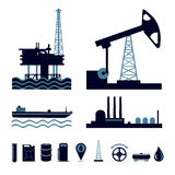 Insieme dell'icona di industria petrolifera Fotografie Stock