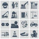 Insieme dell'icona di ingegneria Costruisca le icone in carico e fabbricanti dell'operatore dell'attrezzatura per l'edilizia illustrazione vettoriale