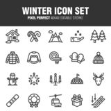Insieme dell'icona di inverno illustrazione di stock