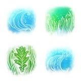 Insieme dell'icona di Llustrated delle onde simboli dell'erba Illustrazione Vettoriale