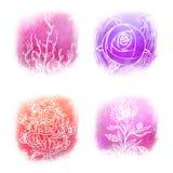Insieme dell'icona di Llustrated di bei simboli floreali Royalty Illustrazione gratis
