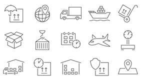 Insieme dell'icona di logistica Immagine Stock