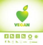 Insieme dell'icona di logo del testo del vegano Fotografie Stock Libere da Diritti