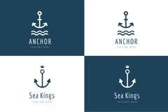 Insieme dell'icona di logo di vettore dell'ancora Mare, annata o illustrazione di stock