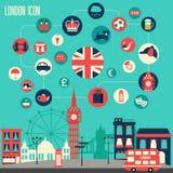 Insieme dell'icona di Londra Fotografie Stock Libere da Diritti