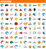 insieme dell'icona di 100 mari, stile piano illustrazione vettoriale