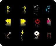 Insieme dell'icona di media di colore Fotografia Stock