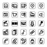 Insieme dell'icona di media e di Web Immagine Stock Libera da Diritti