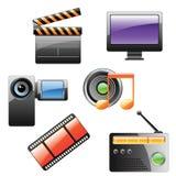 Insieme dell'icona di multimedia Fotografia Stock