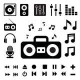 Insieme dell'icona di musica. Fotografia Stock
