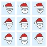 Insieme dell'icona di Natale del Babbo Natale Fotografie Stock Libere da Diritti