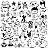 Insieme dell'icona di Natale, elemento in bianco e nero Immagini Stock Libere da Diritti