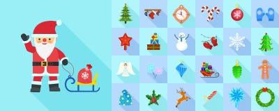 Insieme dell'icona di Natale, stile piano illustrazione di stock