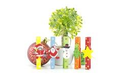 Insieme dell'icona di natale sulla clip variopinta del panno albero verde artificiale e palla rossa Immagini Stock Libere da Diritti