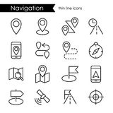 Insieme dell'icona di navigazione, linea sottile colpo, mappa di itinerario Fotografia Stock