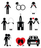 Insieme dell'icona di nozze Immagini Stock