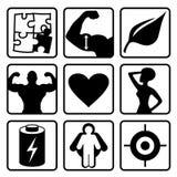 Insieme dell'icona di nutrizione di sport Fotografie Stock