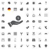 Insieme dell'icona di Octoberfest Simboli tedeschi della birra e dell'alimento isolati su fondo bianco Illustrazione di vettore F Fotografia Stock Libera da Diritti