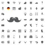 Insieme dell'icona di Octoberfest Simboli tedeschi della birra e dell'alimento isolati su fondo bianco Illustrazione di vettore F Fotografia Stock