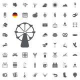 Insieme dell'icona di Octoberfest Simboli tedeschi della birra e dell'alimento isolati su fondo bianco Illustrazione di vettore F Immagine Stock Libera da Diritti