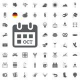 Insieme dell'icona di Octoberfest Simboli tedeschi della birra e dell'alimento isolati su fondo bianco Illustrazione di vettore F Fotografie Stock
